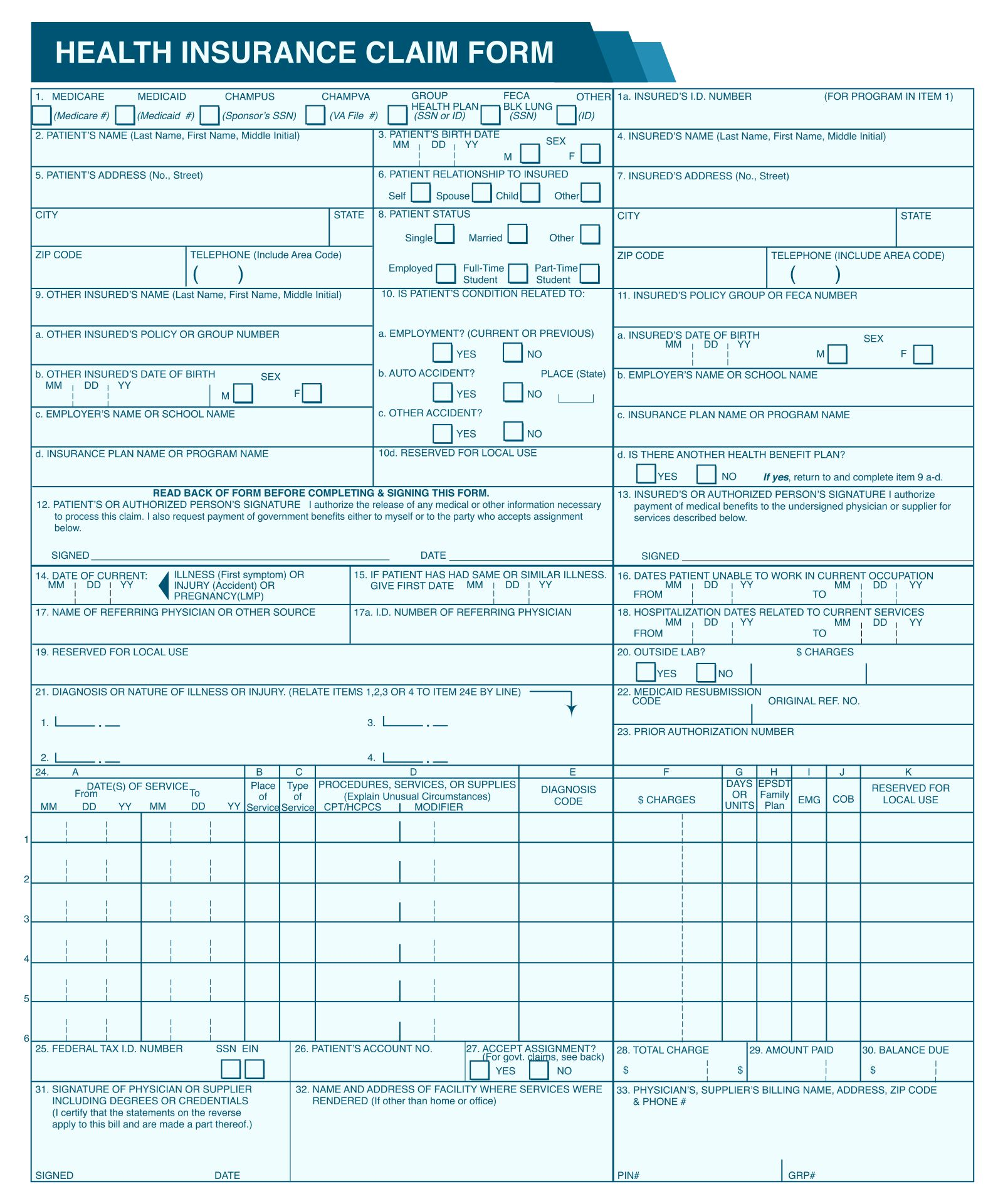 5 Images of Medical Billing Forms Free Printable