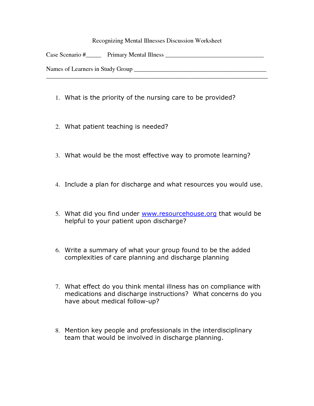 Worksheet Mental Health Worksheets mental health group worksheets hypeelite 7 best images of adult printable fun