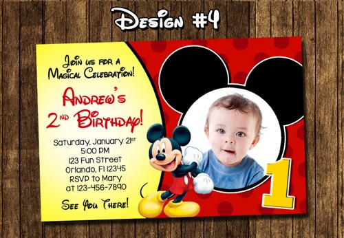 8 Images of Mickey Mouse Birthday Invitations Printable