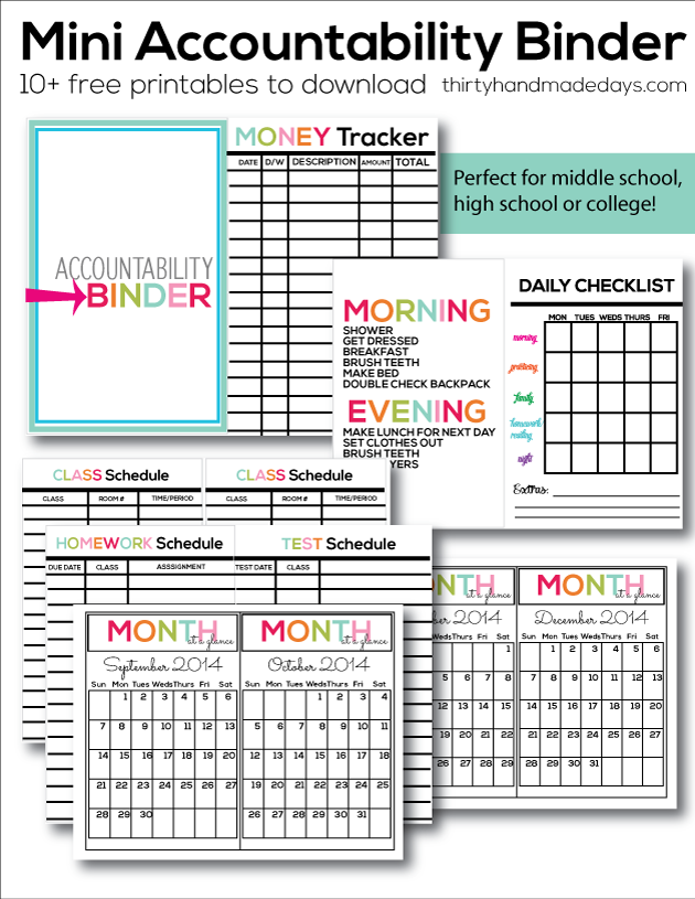 6 Images of School Binder Organization Printables