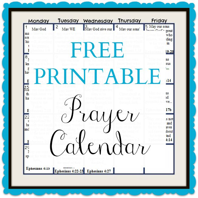 6 Images of Printable Prayer Calendar