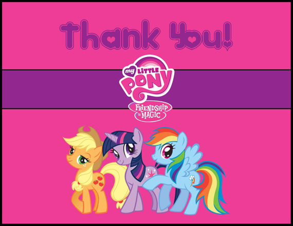 8 Images of My Little Pony Free Printable Thank You Card