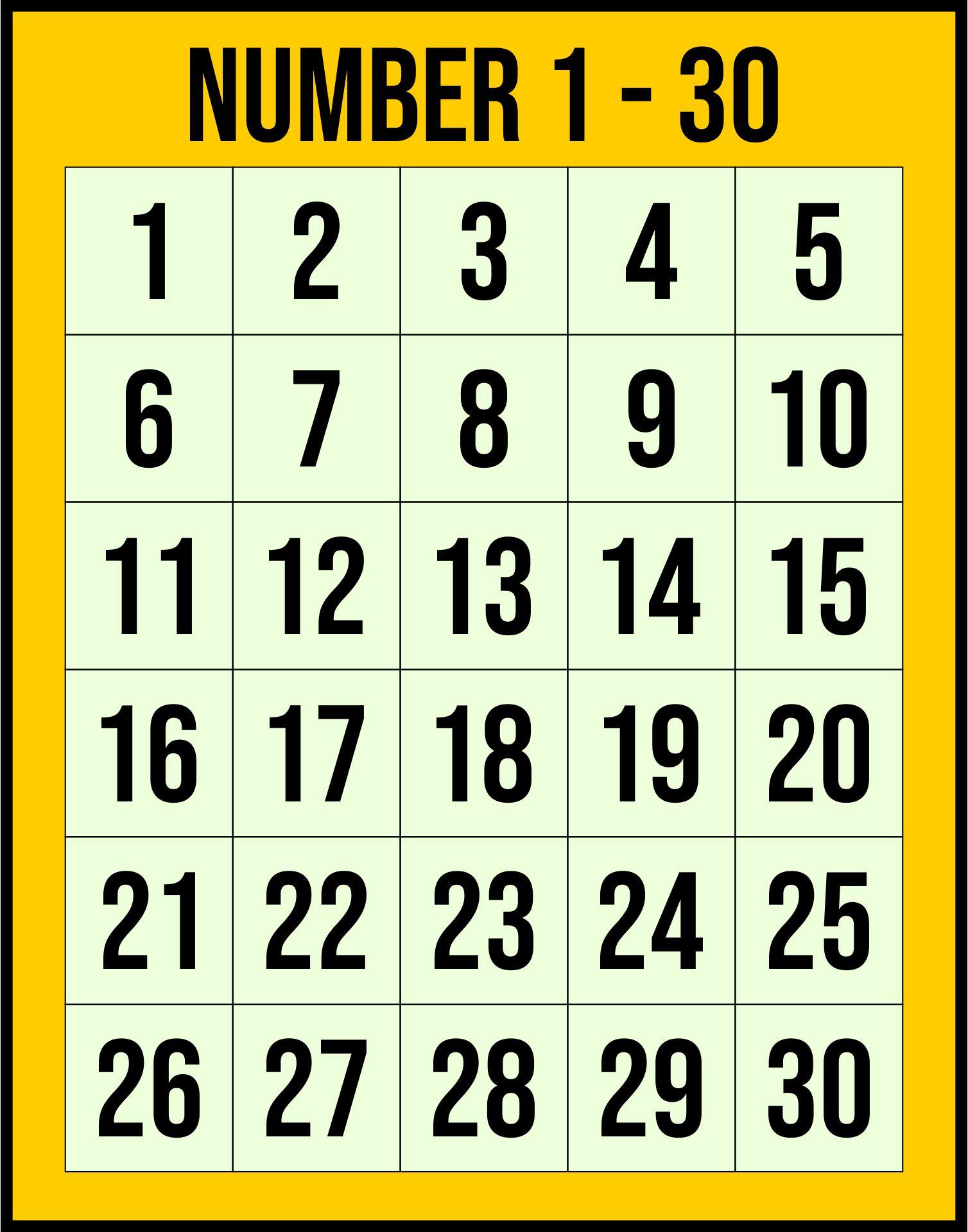 Number Grid 1 30