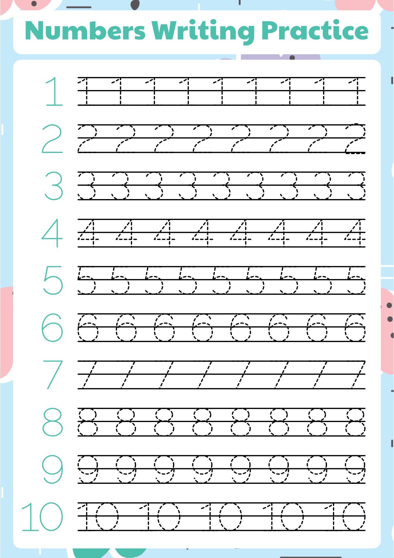 Practice Writing Numbers 1-10 Worksheet