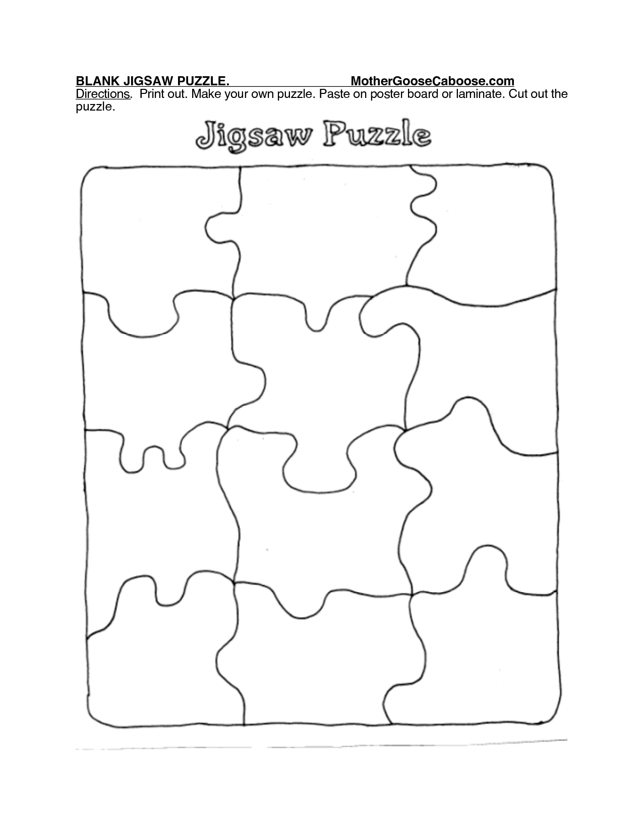 8 Images of Printable Blank Jigsaw Puzzles