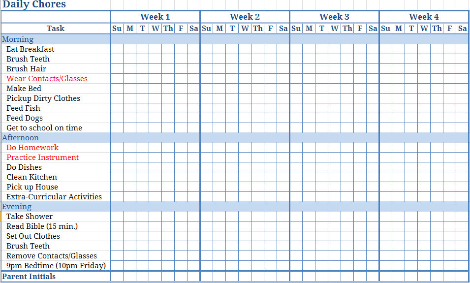 5 Images of Printable Blank Monthly Chore Charts
