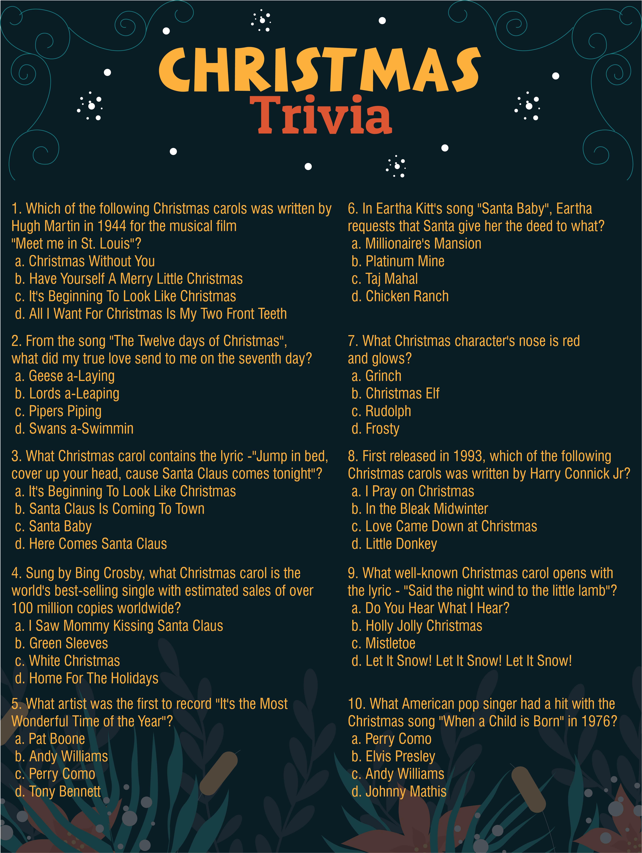 Printable Christmas Games and Trivia