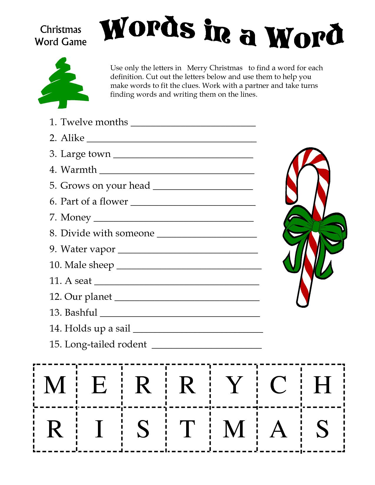 5 Images of Kids Christian Printable Christmas Word Games