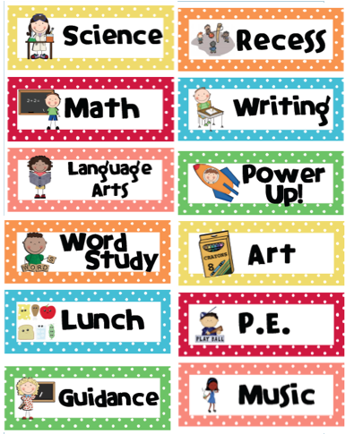 5 Images of Classroom Schedule Labels Free Printable
