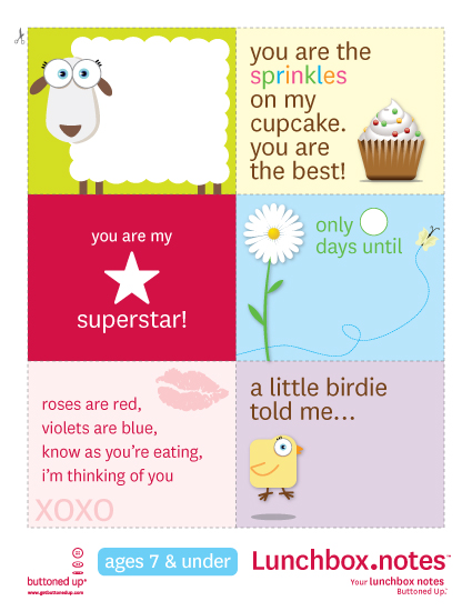 8 Images of Preschool Lunch Box Notes Printables