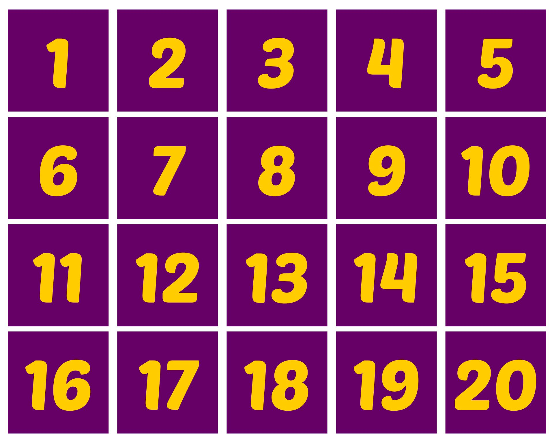 Printable Numbers 1 20