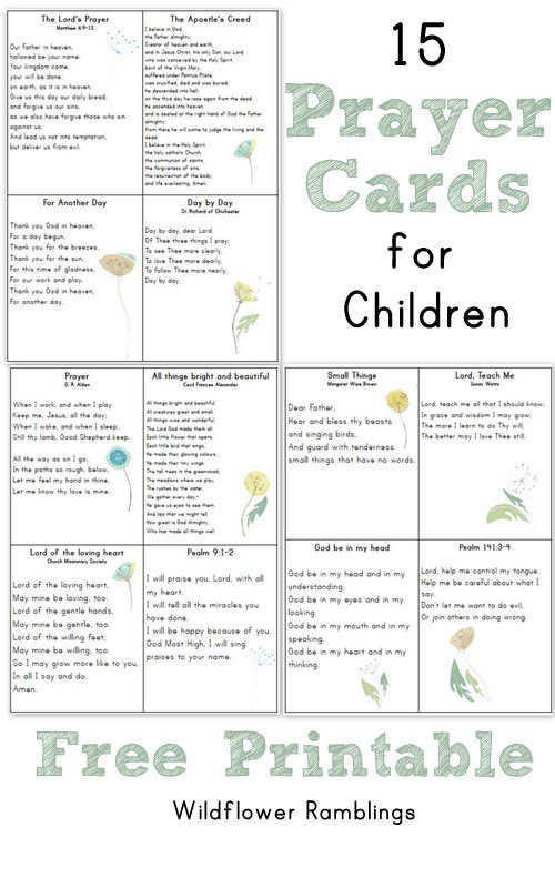 7 Images of Free Printable Prayer Cards Children