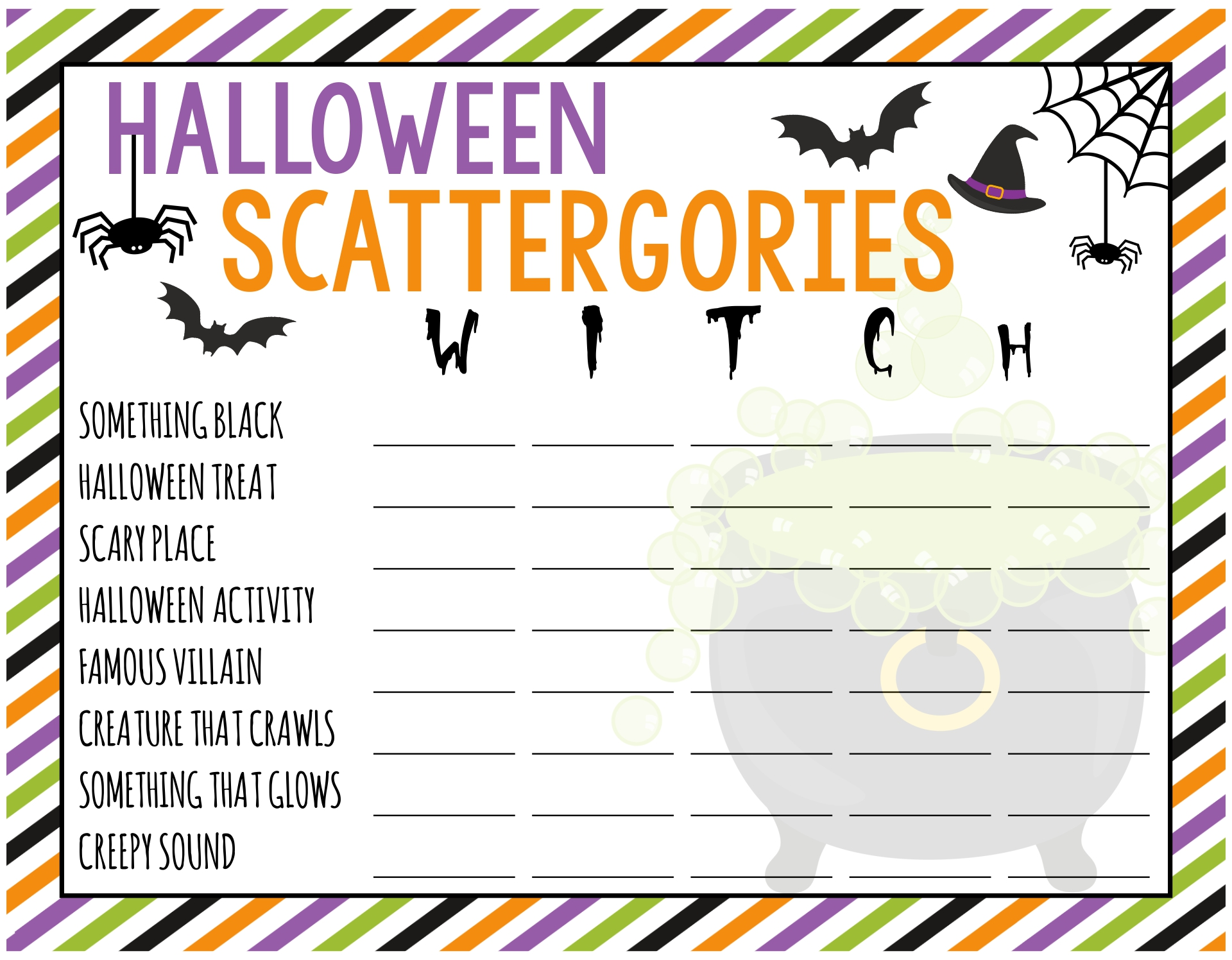 Printable Scattergories Game Sheets