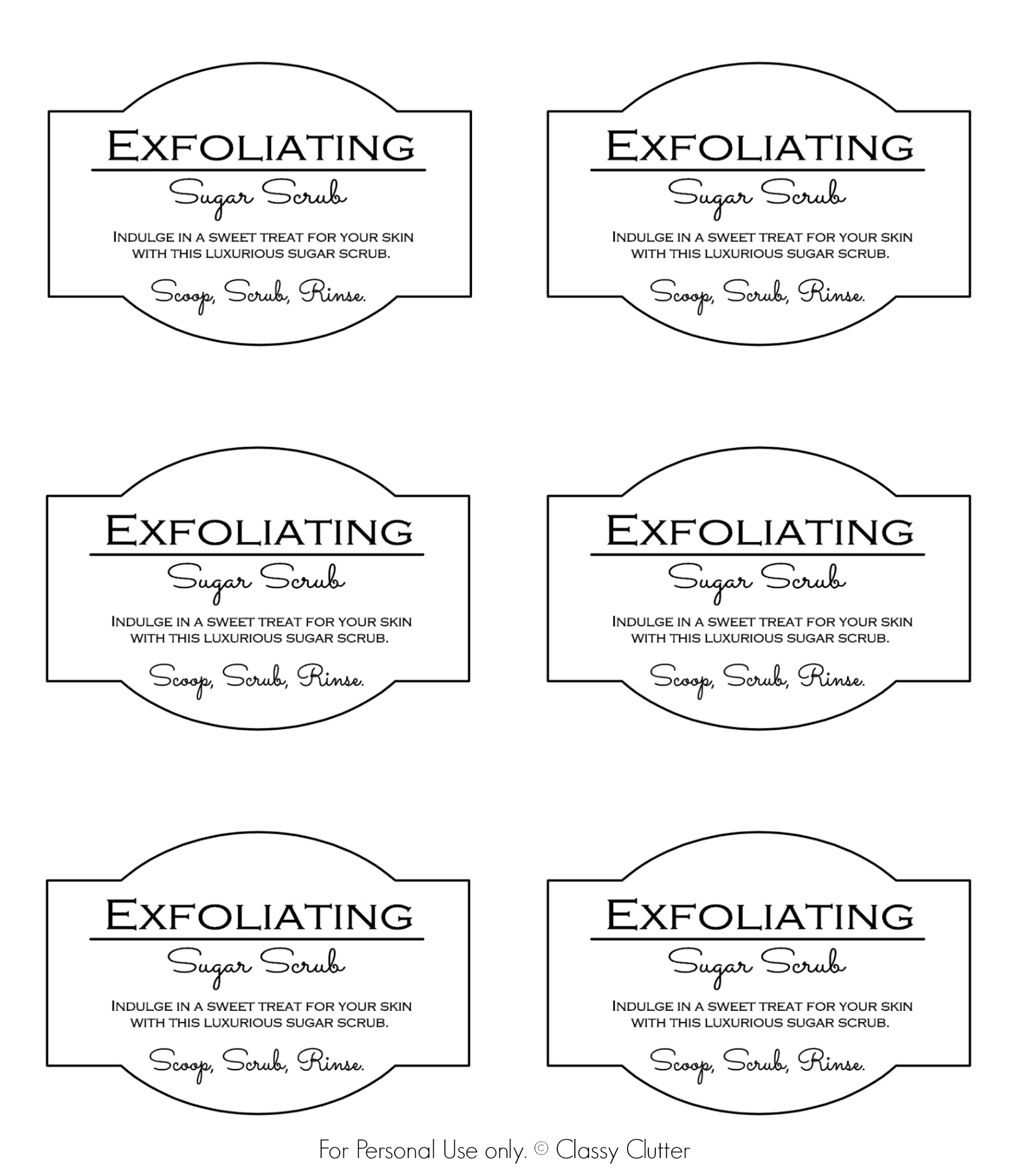 6 Images of Customizable Sugar Scrub Printable Label