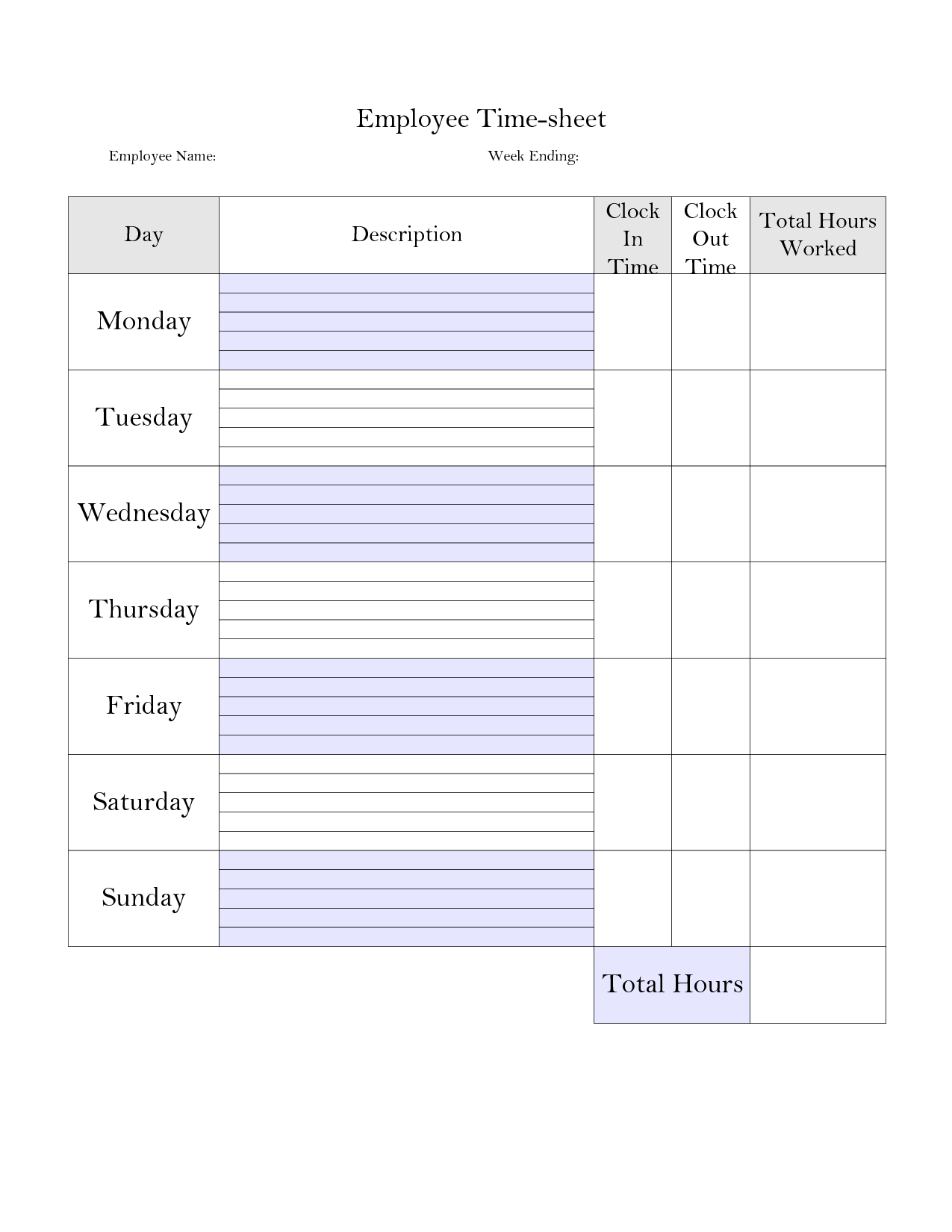 8 Images of Printable Bi-Weekly Time Card Template