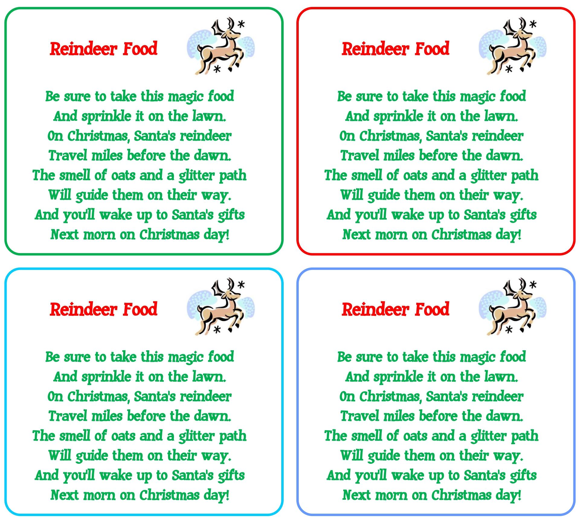 5 Images of Reindeer Food Poem Printable Labels