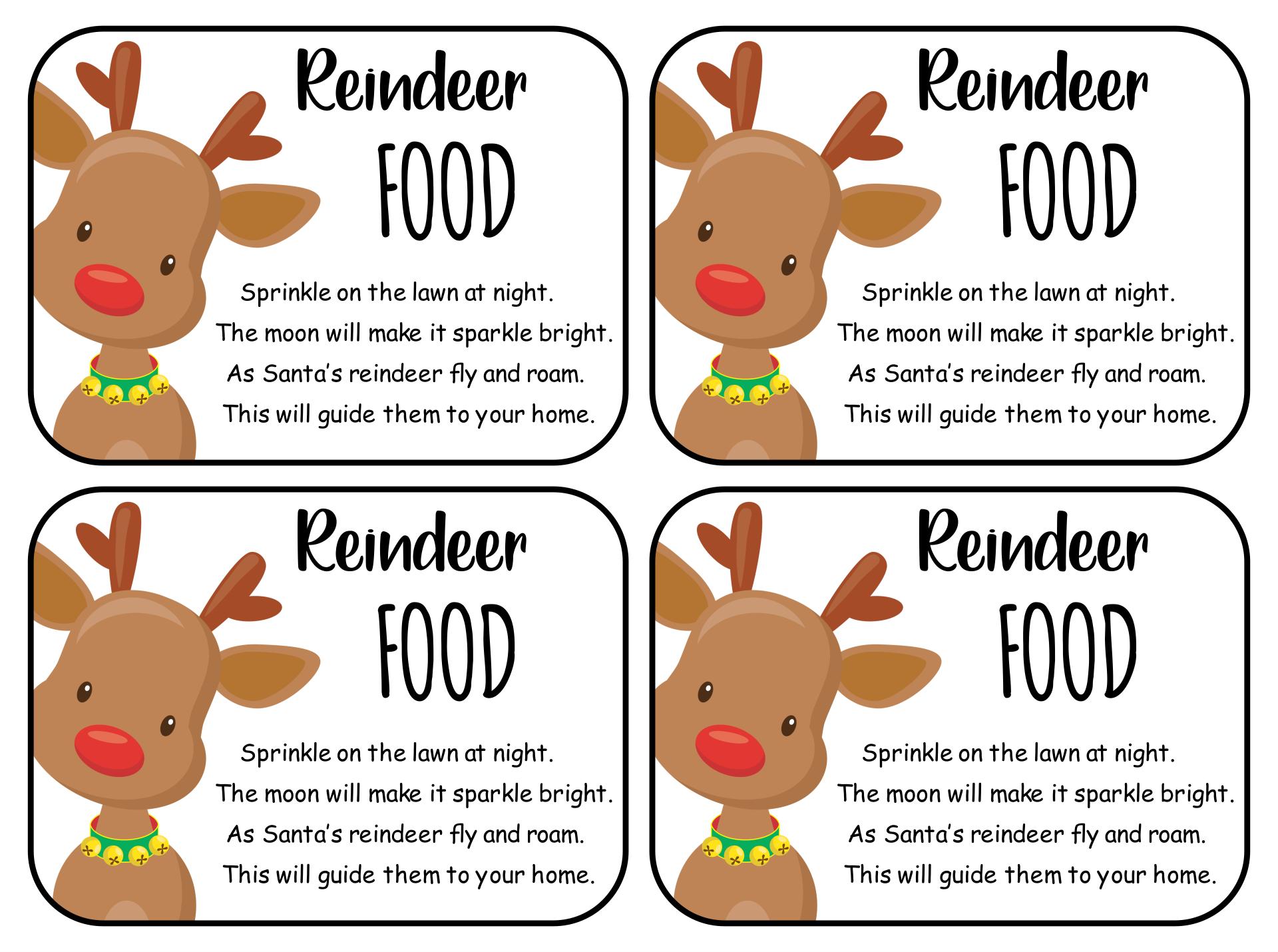 Reindeer Food Poem Template