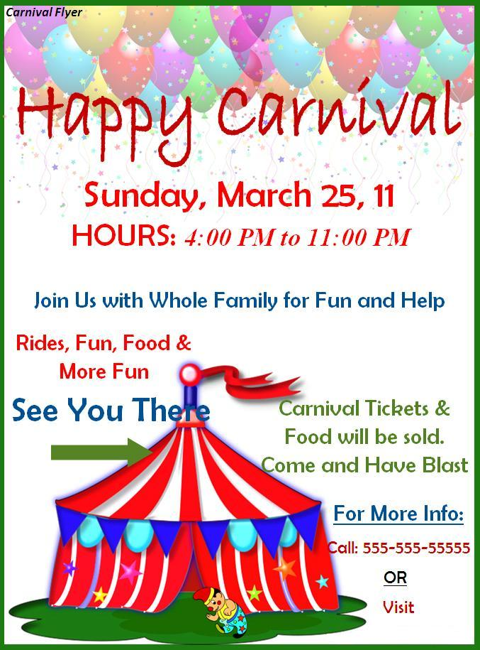 carnival flyer template word