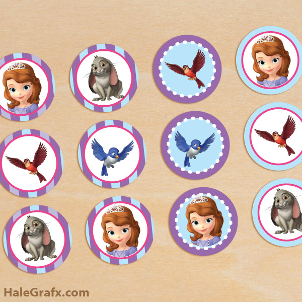 8 Images of Sofia The First Cupcake Toppers Printable