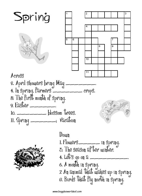 spring crossword puzzle worksheet 206627 - Post Kindergarten Crossword
