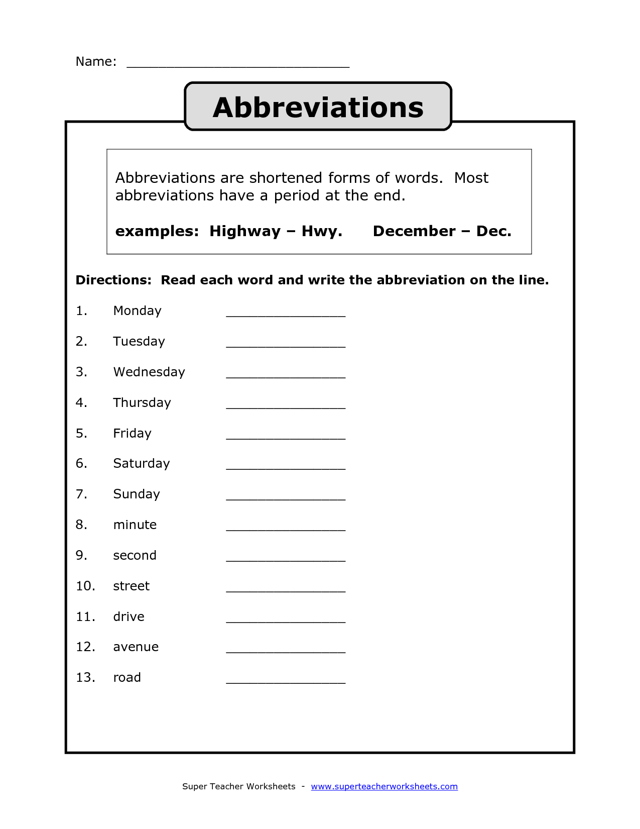 Printables Abbreviation Worksheets state abbreviation worksheet bloggakuten 4 best images of abbreviations printable state