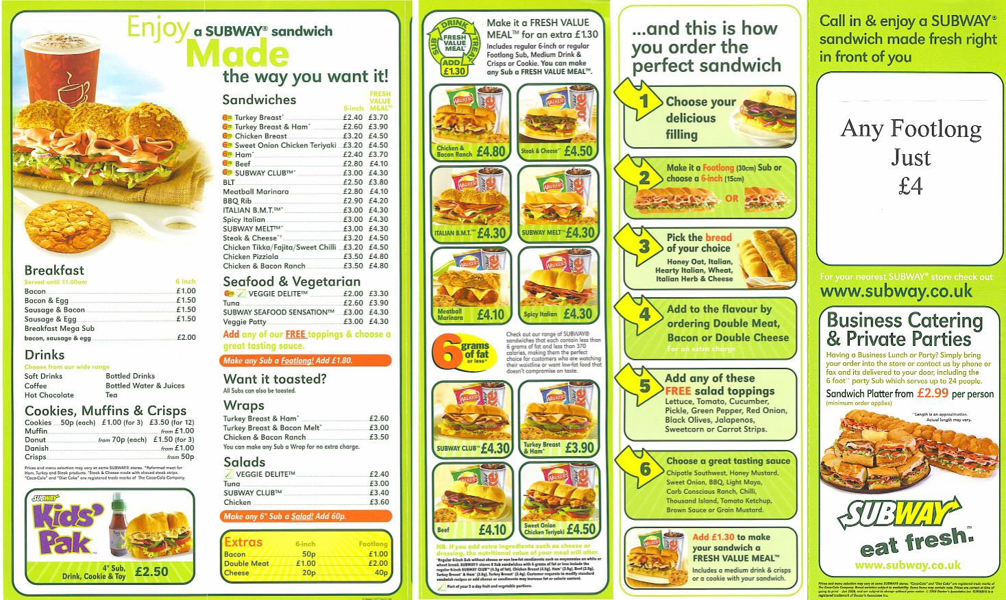 5 Images of Printable Subway Menu