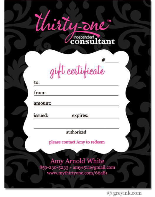 4 Images of Thirty-One Gift Certificate Printable