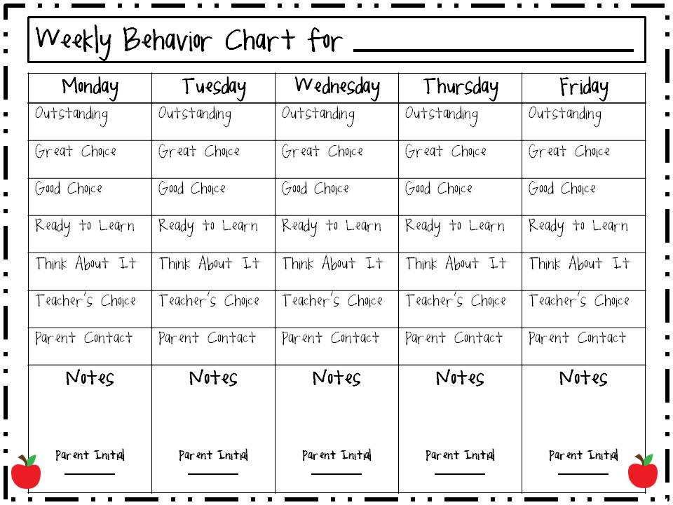 4 Images of First Grade Behavior Chart Printables