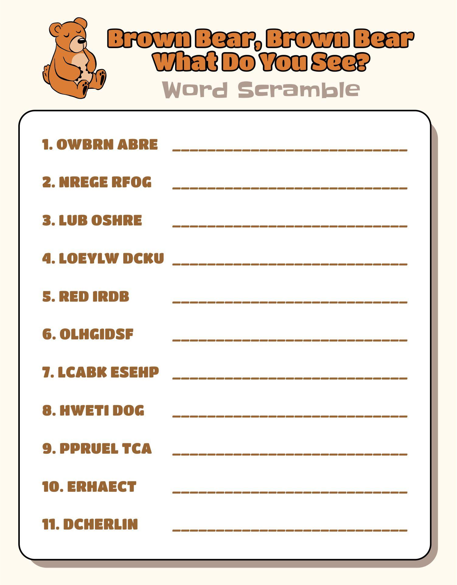 5 Best Brown Bear Brown Bear Printables Printablee Com