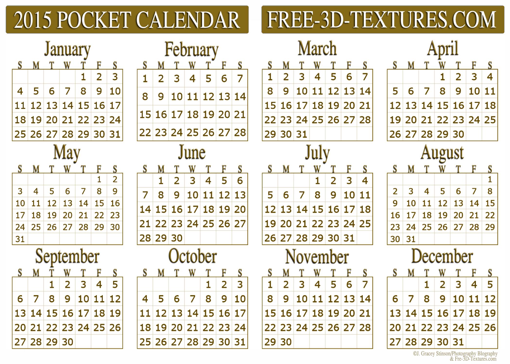 2015 Pocket Calendar Printable
