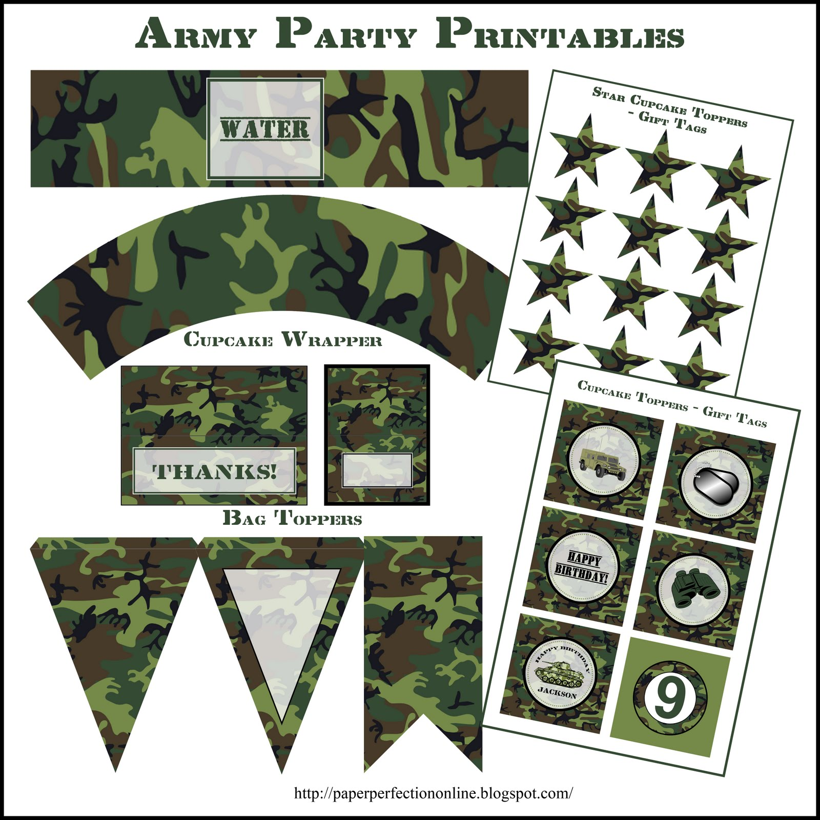 5 Images of Army Party Printables