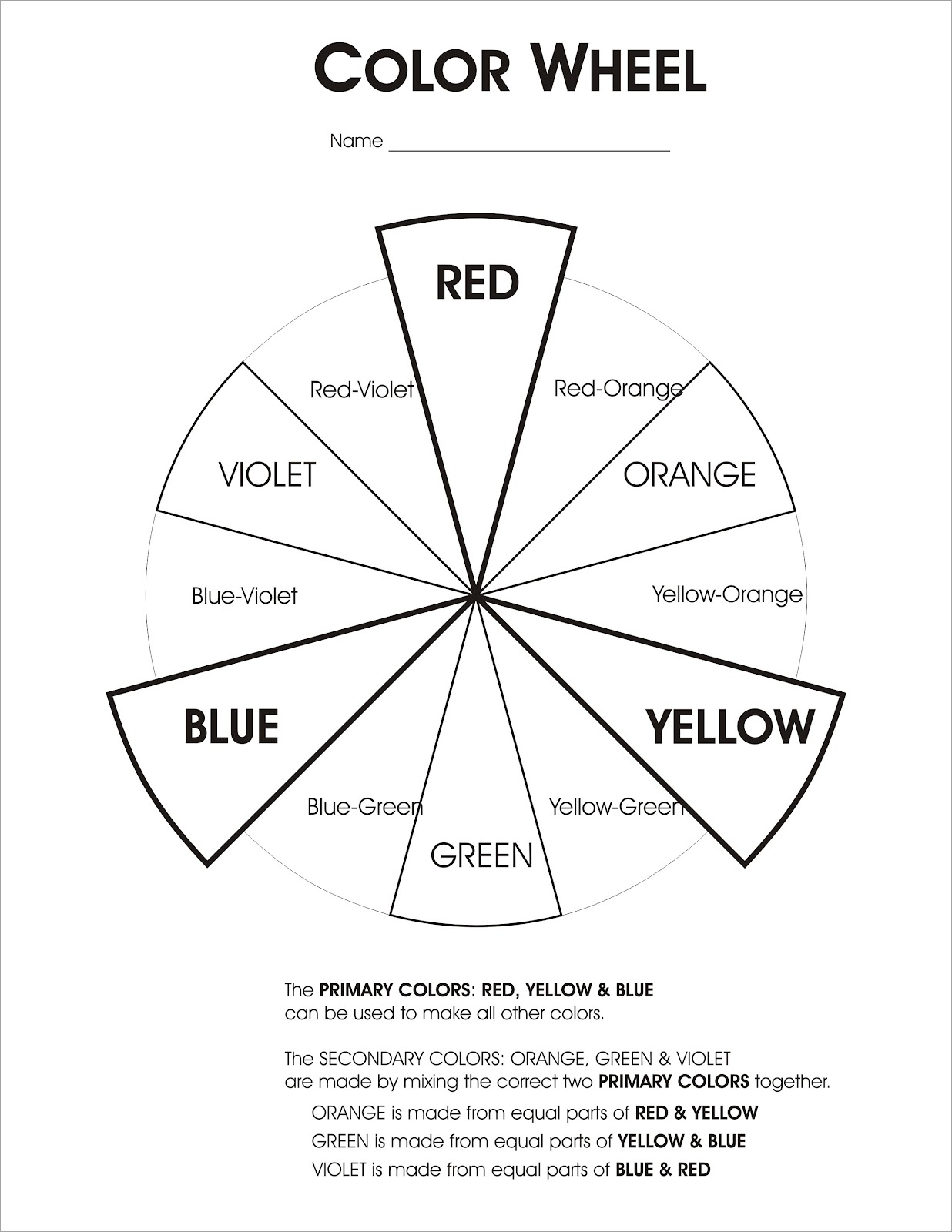 Art Color Wheel Worksheet