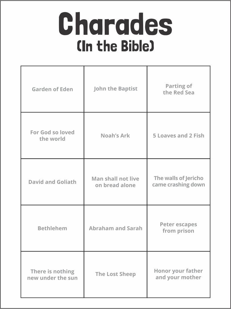 Bible Charades Word List
