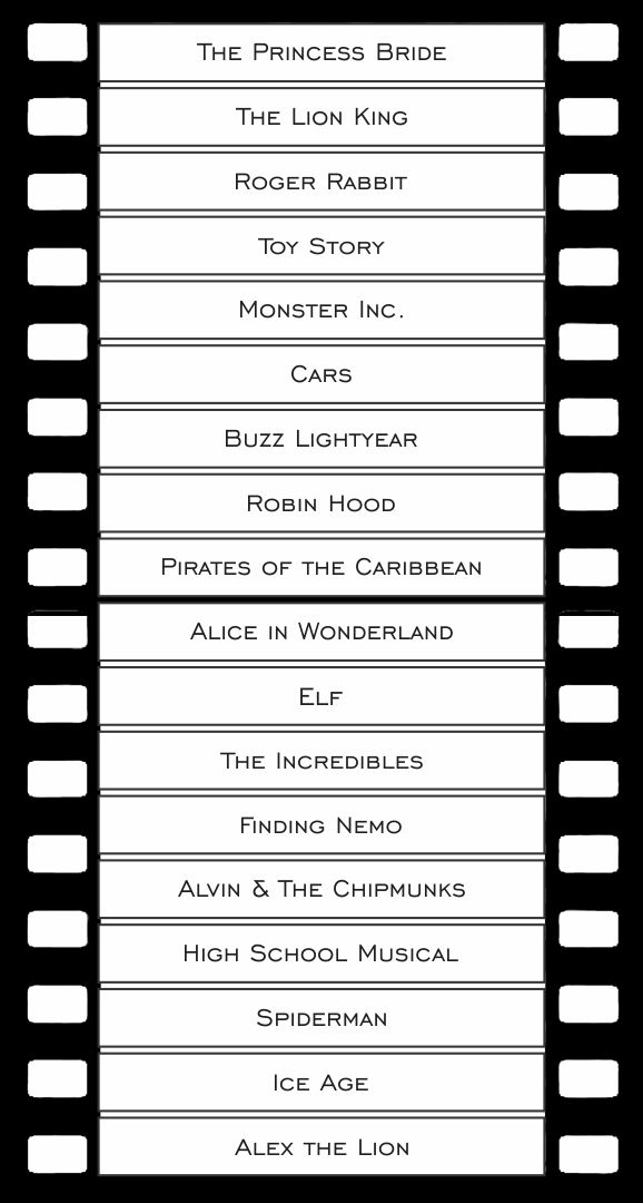 Printable Charades Movie Lists