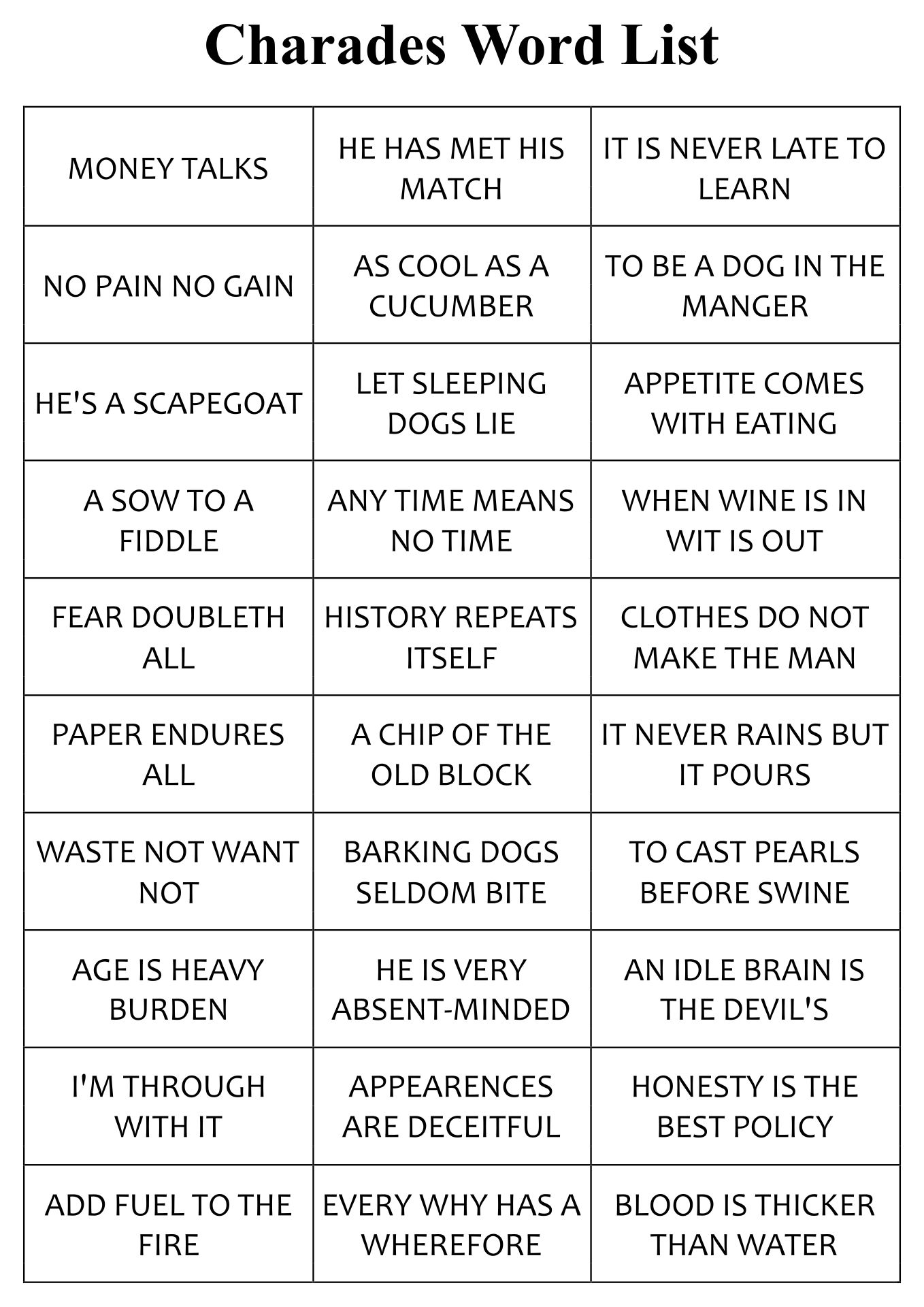 Charades Word List