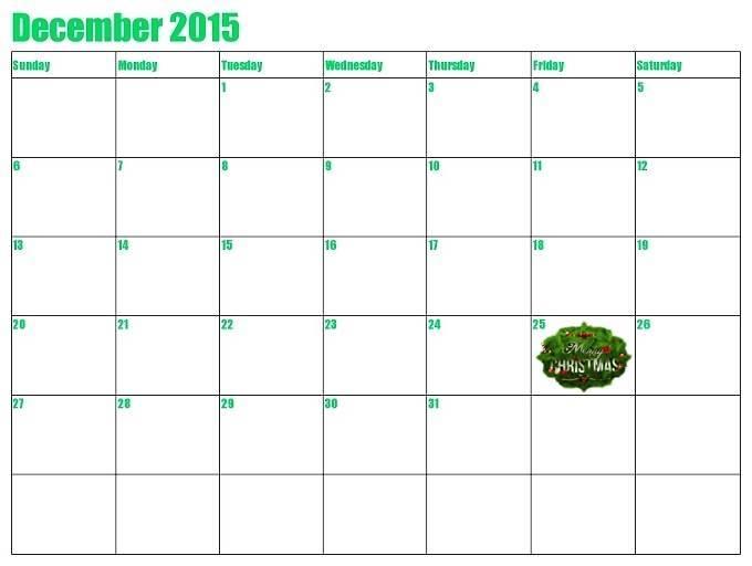 Christmas Countdown December 2015 Calendar Printable