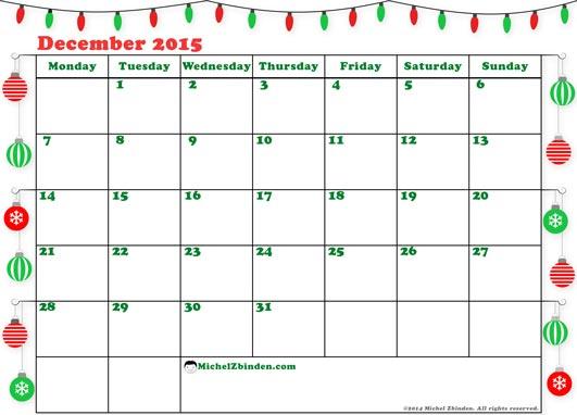 Christmas December 2015 Calendar