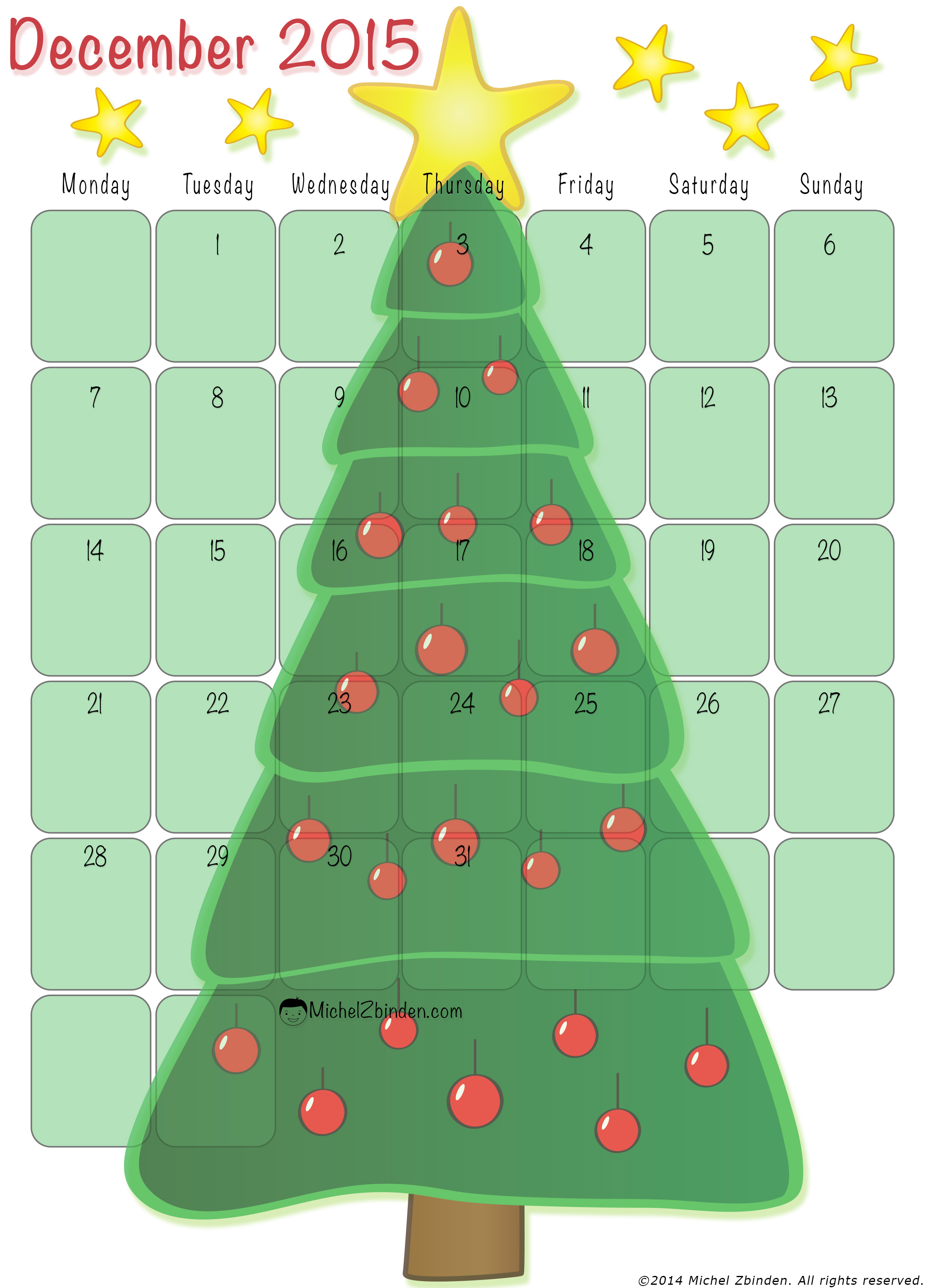 Christmas Calendar 2015 : Best images of printable calendar december