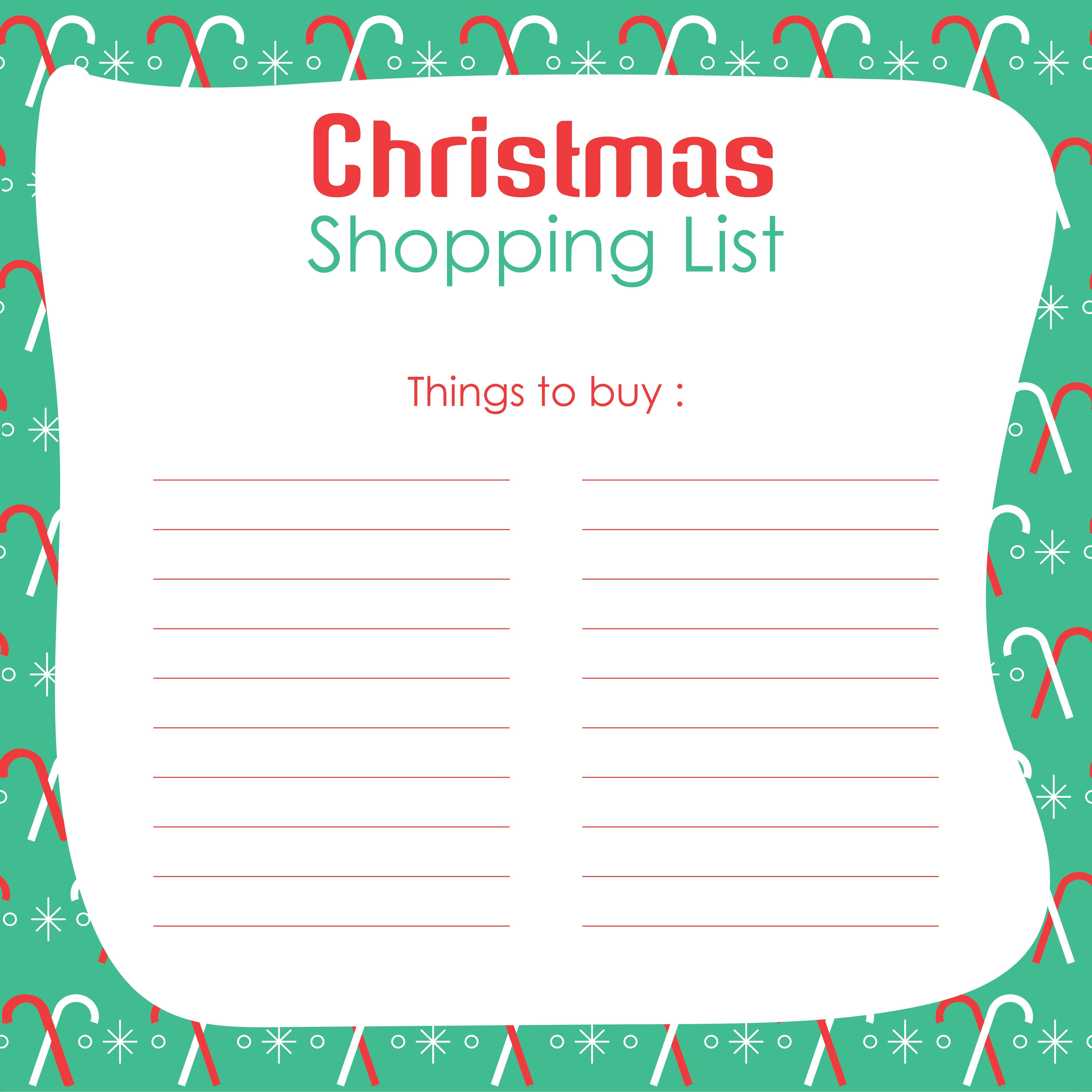 Christmas Shopping List Template Printable
