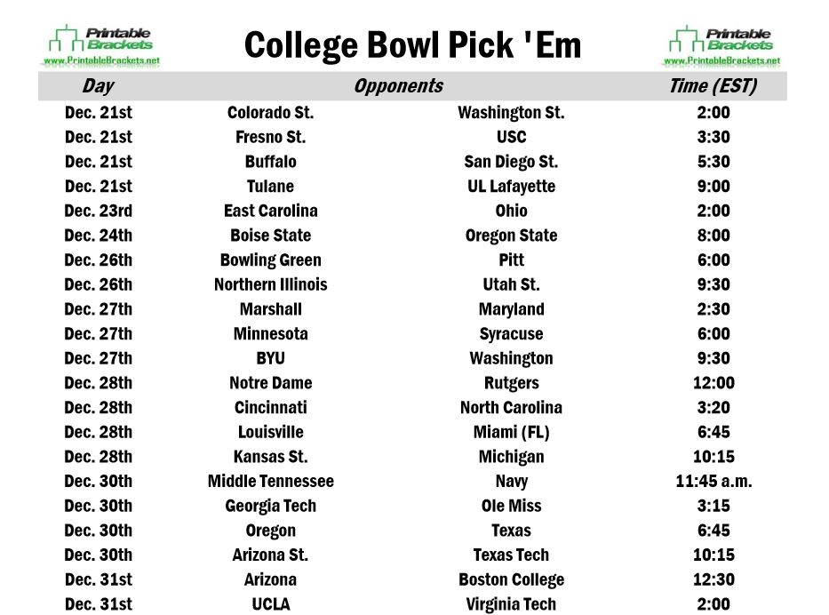 6 Images of College Football Bowl Pickem Printable 2015