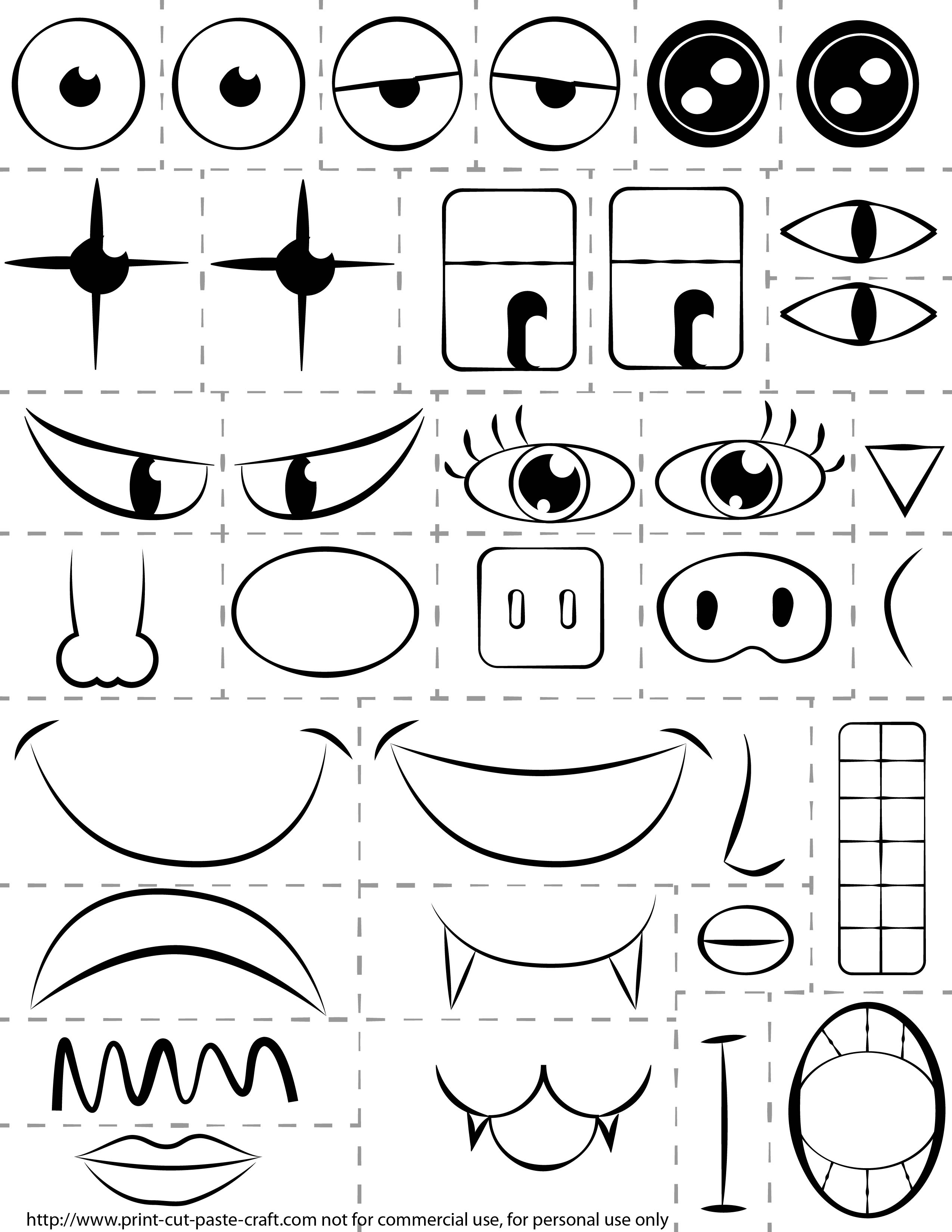 Cut and Paste Face Printables