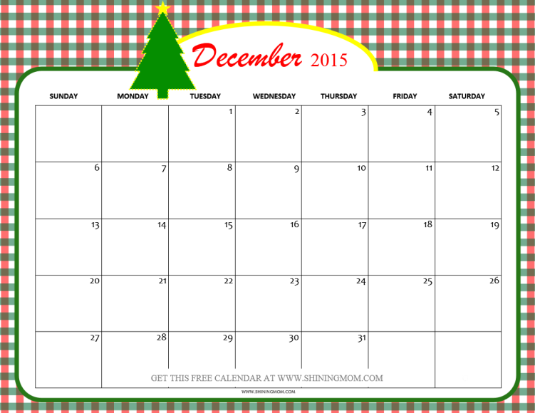 8 Images of 2015 Printable Calendar December Christmas
