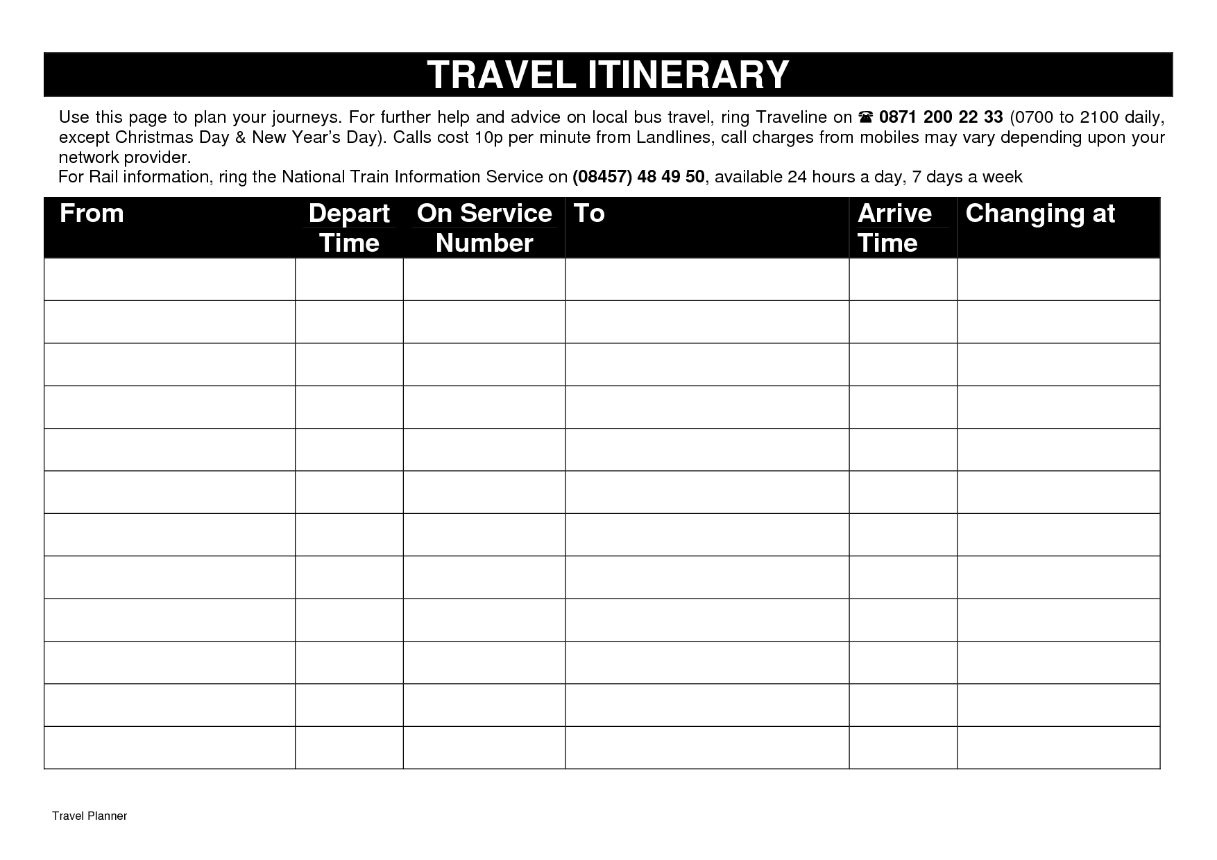 Daily Travel Itinerary Template