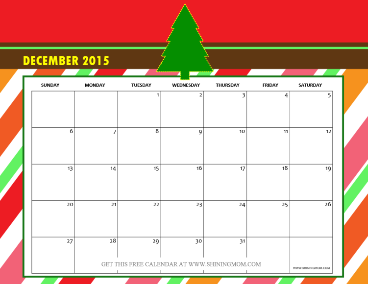 December 2015 Calendar Printable Free