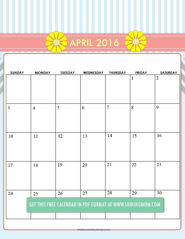 8 Images of April 2016 Calendar Printable Cute