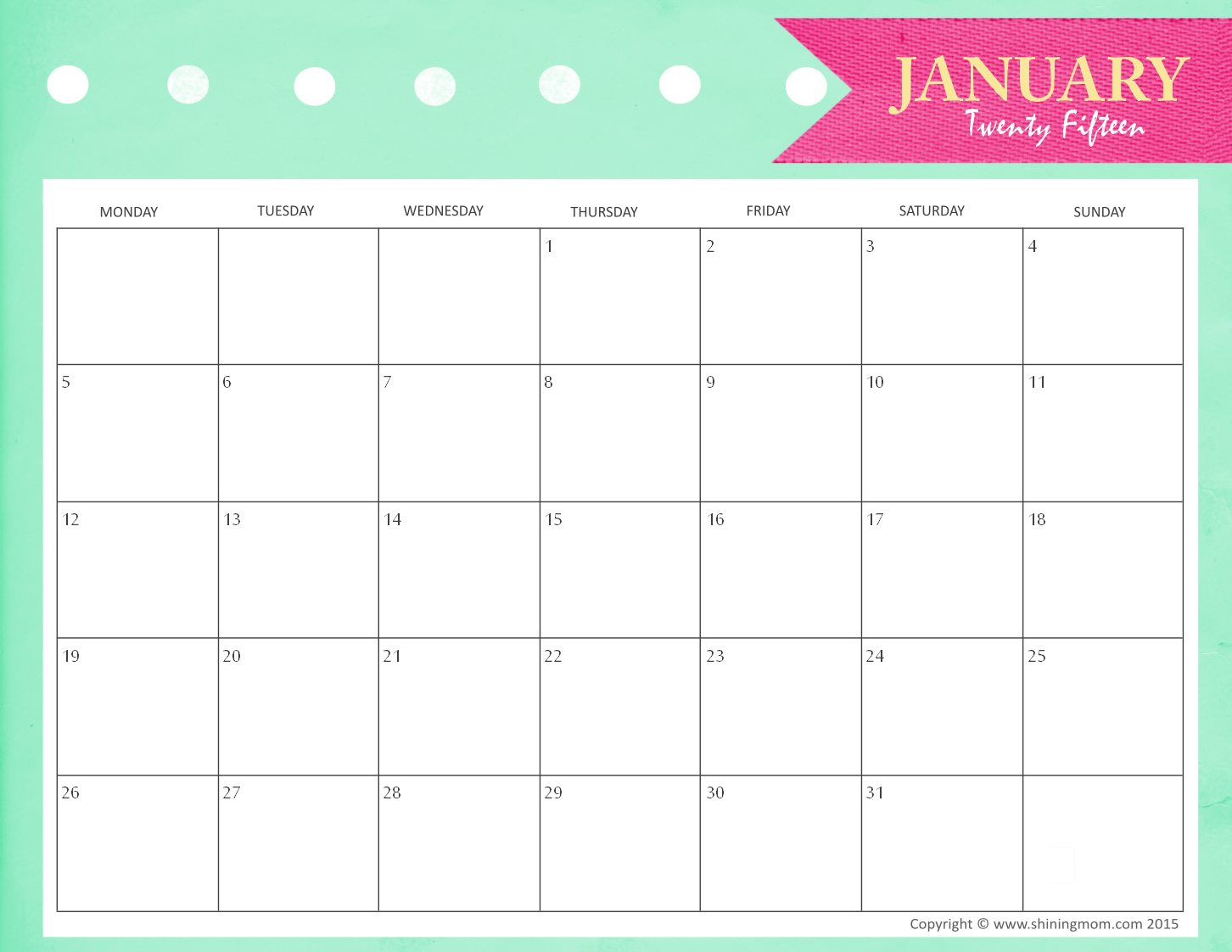 7 Images of Calendar 2015 Printable January 2016