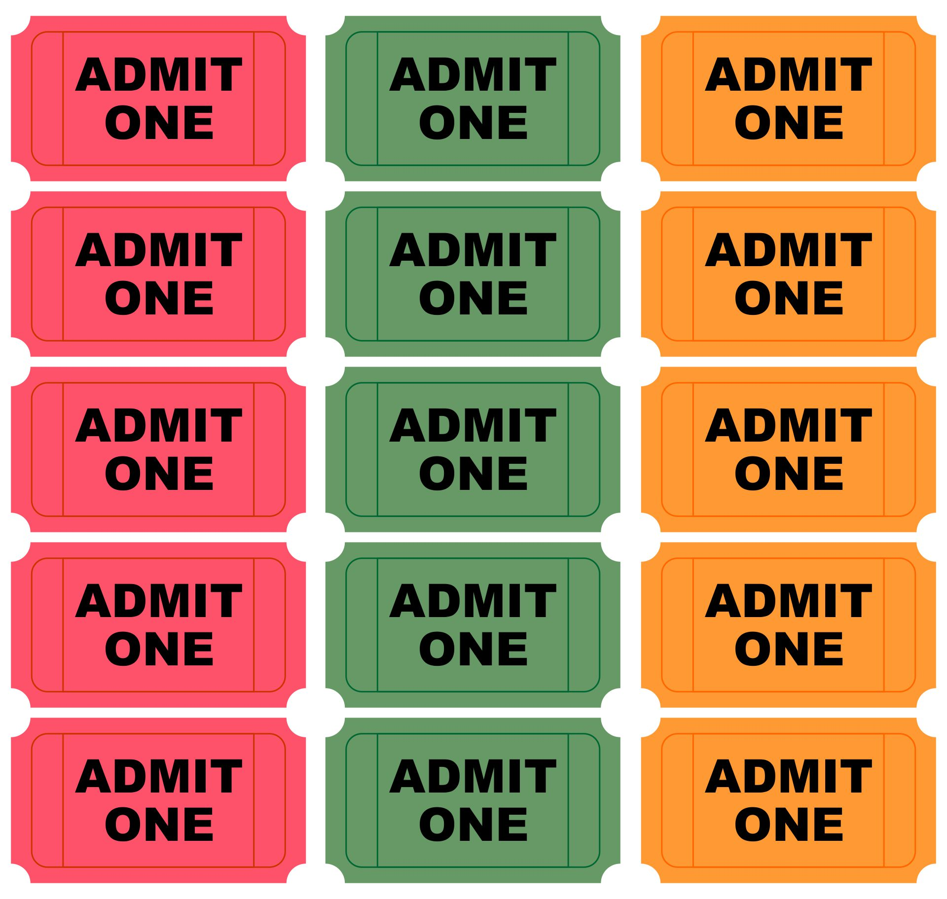 Free Printable Admit One Ticket Templates