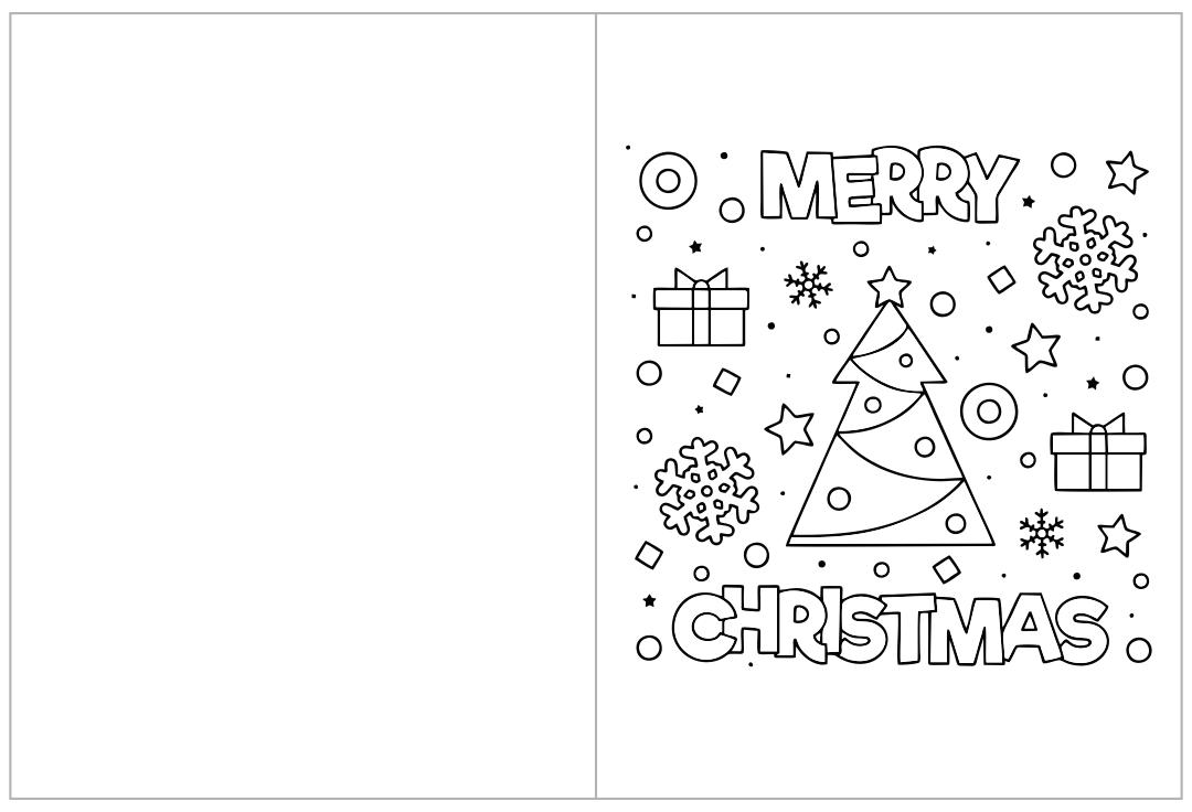 Printable Christmas Cards Kids to Color