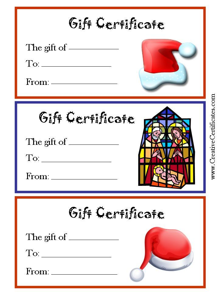 holiday gift certificate template free printable - 6 best images of free christmas printable gift