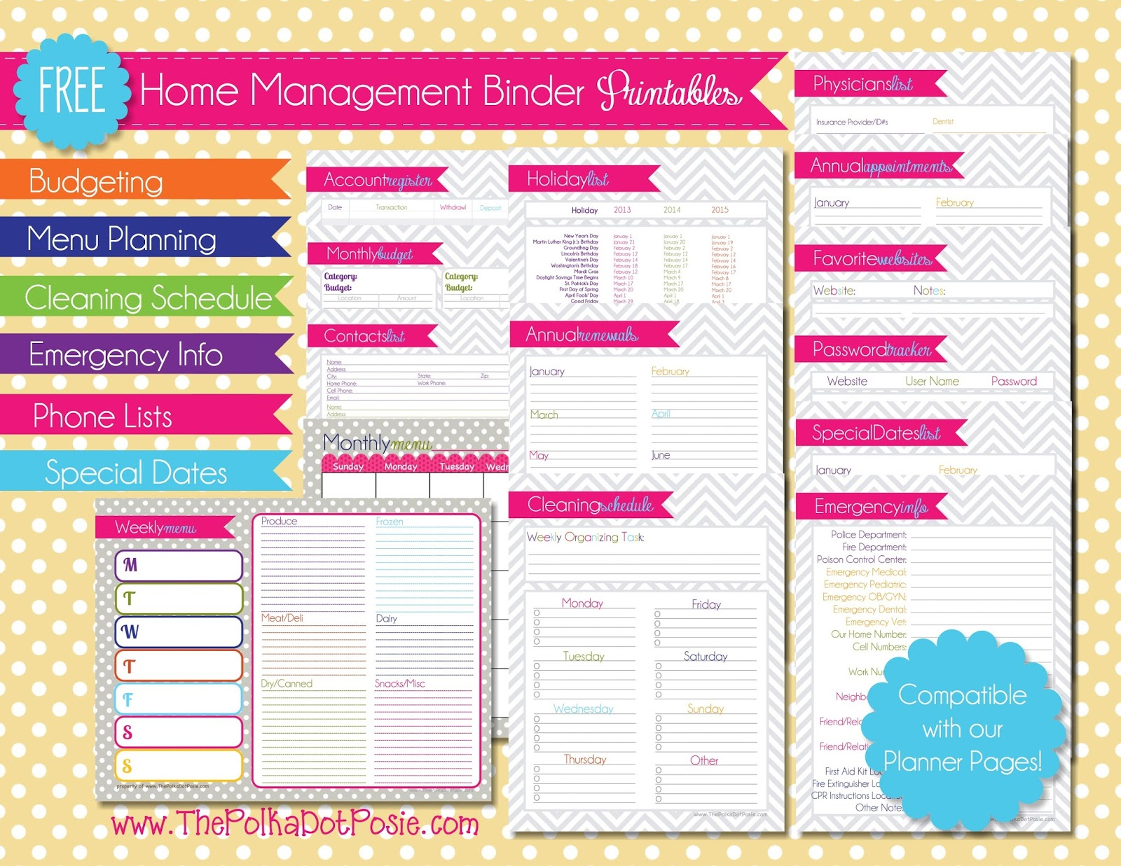 6 Images of Free Printable Household Planner